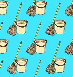 Sketch mop and bucket vector image