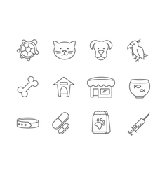Pets shop and clinic line icons vector