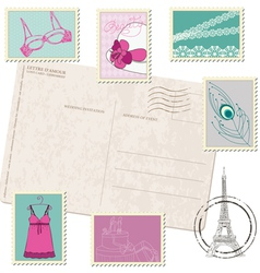 Retro postcard with set of fashion stamps vector
