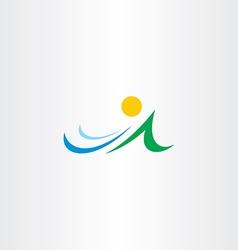 Mountain river and sun icon element symbol vector