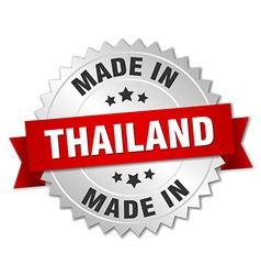 Made in thailand silver badge with red ribbon vector