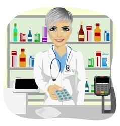 Female pharmacist giving pills in blister pack vector