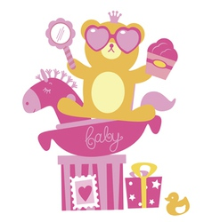 Baby shower for girl composition vector