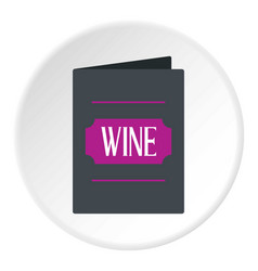 Black wine card icon circle vector
