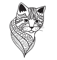 Cat Black and white doodle print with ethnic vector image