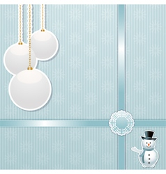 Christmas bauble and snowman background vector image vector image