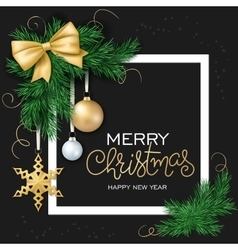 christmas card with frame vector image