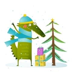 Crocodile wearing winter warm clothes celebrating vector