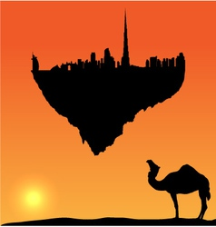 Dubai silhouette flying island vector