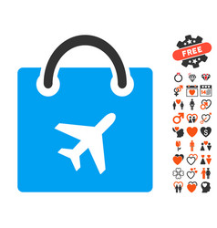 Duty free shopping icon with love bonus vector