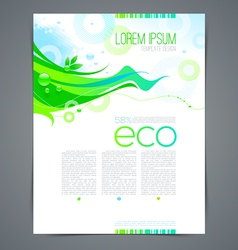 Eco template page design with abstract green shape vector image
