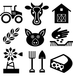 Farming black icons on white vector