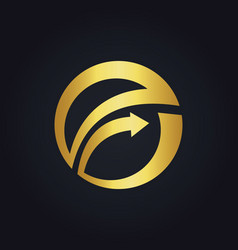 Gold arrow round business exchange logo vector