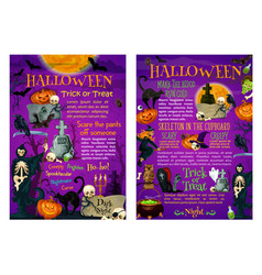 Halloween trick or treat poster of october holiday vector