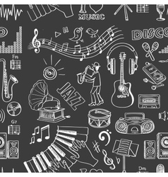 Hand drawn music pattern vector image vector image