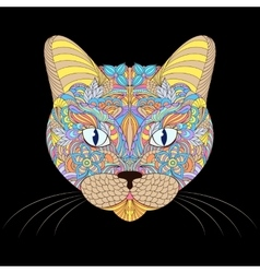 head of cat on black background vector image vector image