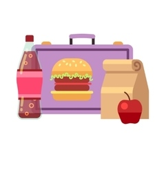 Healthy school lunch student breakfast box vector image vector image