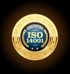 ISO 14001 certified medal - quality standard vector image vector image