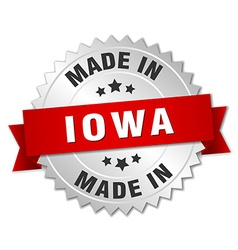 Made in iowa silver badge with red ribbon vector