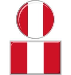 Peruvian round and square icon flag vector