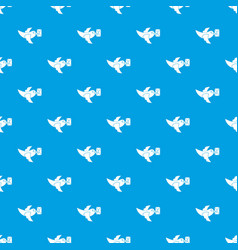 Pigeon fly with mail pattern seamless blue vector