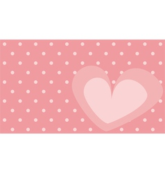 Pink heart with polka dots on background vector image