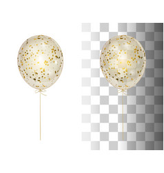 realistic transparent balloon with gold confetti vector image vector image