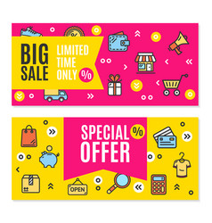sale flyer banner posters card set vector image