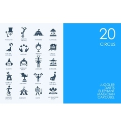 Set of blue hamster library circus icons vector