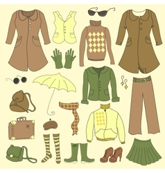 set retro woman clothes vector image