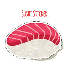 Sushi sticker asian food with trout rice label vector
