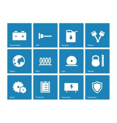 Tools icons on blue background vector image