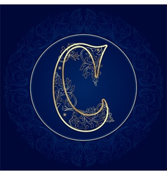 Vintage floral alphabet letter C vector image vector image