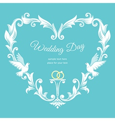 Wedding heart frame vector image vector image