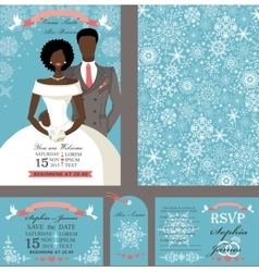 Wedding invitationbridegroomwinter set vector