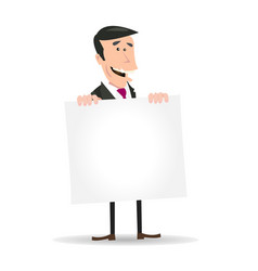 White businessman holding a blank sign vector