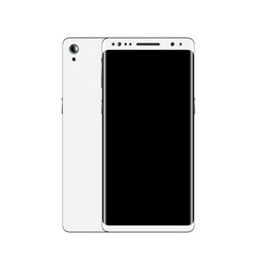 white smartphone front and back view isolated on vector image vector image