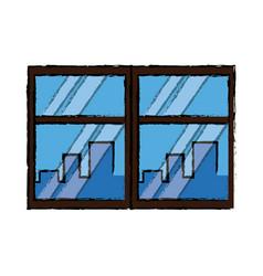 Window cityscape window framed urban buildings vector