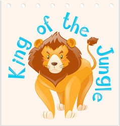 Wordcard for king of the jungle vector