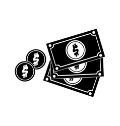 Black silhouette multiple bills with coin vector