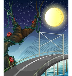 A road above the river near the tree with bugs vector image