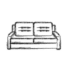 Sofa furniture comfort sketch vector