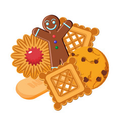 Set of biscuits of various types vector