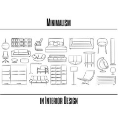 Set of 25 items minimalism in interior design vector