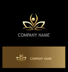 beauty lotus flower gold logo vector image