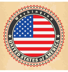 Vintage label cards of usa flag vector