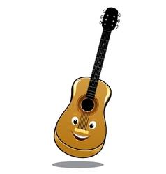 Cartoon wooden country guitar vector image