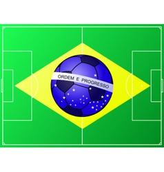 Brazilian football flag with a soccer field vector