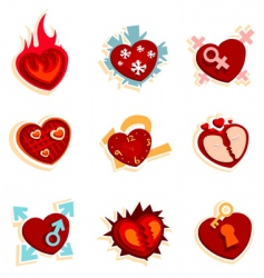 Heart funny icons vector