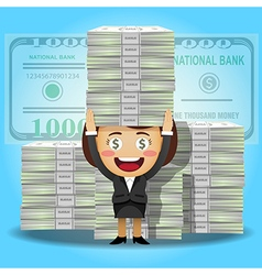 Happy woman carrying stack of big dollar banknotes vector